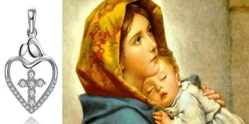 Pendentif Coeur Croix Argent Femme (Marie & Jésus)